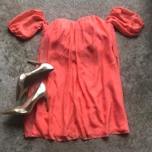 Bebe Coral Off Shoulder Dress with Built in Bra